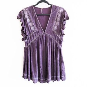 NWT! Free People Plum Combo Embroidered Top